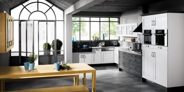virtuvės dizainas, juoda balta nuotrauka, žydra, gelsva