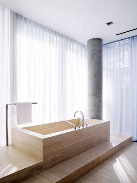kriauklė, kolona vonios interjere