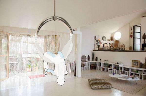 zen_circus_01 kėdė, hamakas svetainės kambaryje