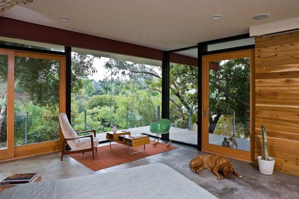 miško vaizdas pro didžiulius langus miegamąjame