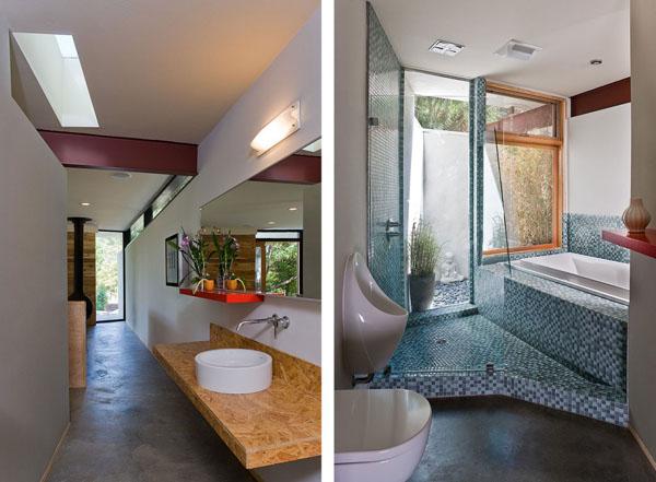 Vonios, koridoriaus interjeras, sija, langas