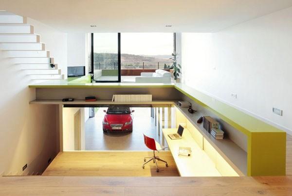 Terasinis namas, bendra interjero erdvė, 3 lygiai