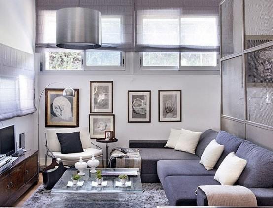 48 m2 buto interjeras, svetainė