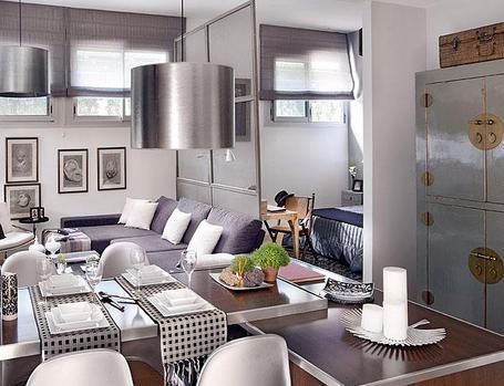 48 m2 buto interjeras, bendra erdvė