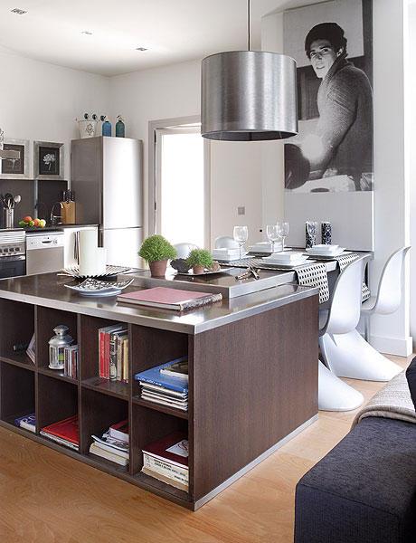 48 m2 buto interjeras, virtuvė valgomasis