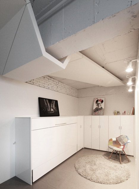 buto interjeras, konstrukcija ant lubų, spintelės