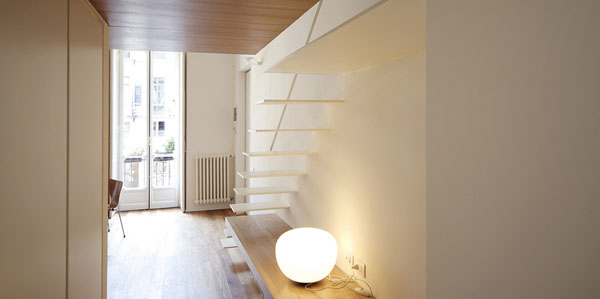 buto interjeras, perspektyva į balkoną