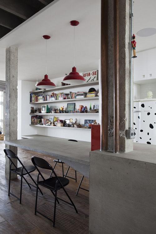 betoninis baras, valgomojo stalas
