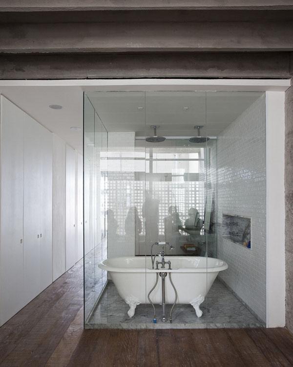 stiklinė vonios dušo kabina su vonia