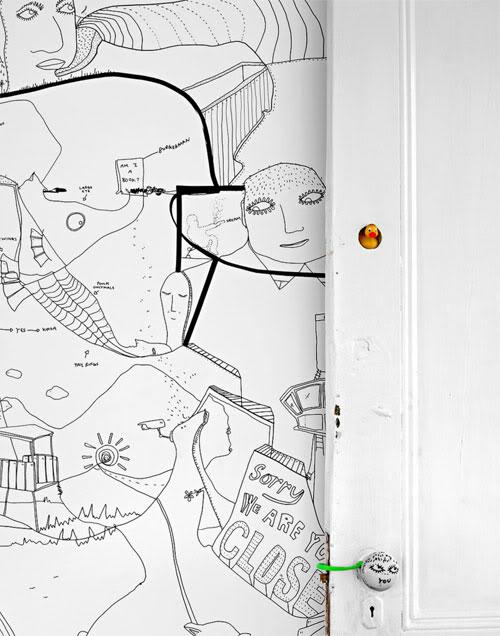 piešiniai ant sienų, durų dekoras