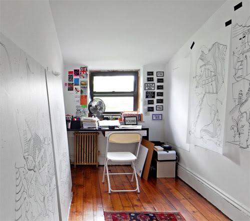 piešiniai ant sienų, darbo kambarys