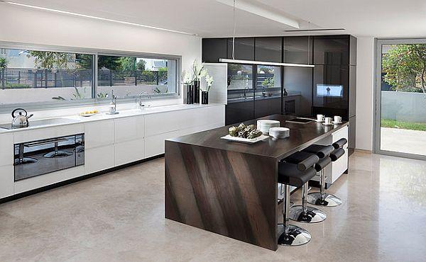 juoda balta virtuvė, sala