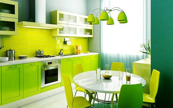 gelsvai žalsvos spalvos virtuvės spintelės vienoje linijoje
