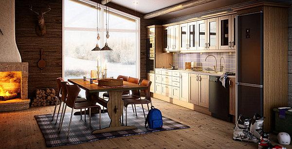 virtuvės spintelės vienoje linijoje, medinės grindys, siena
