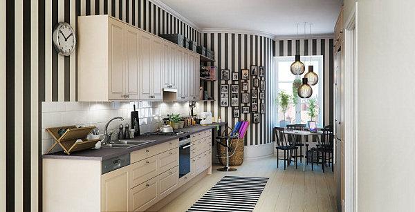 virtuvės spintelės vienoje linijoje, juostos ant sienos
