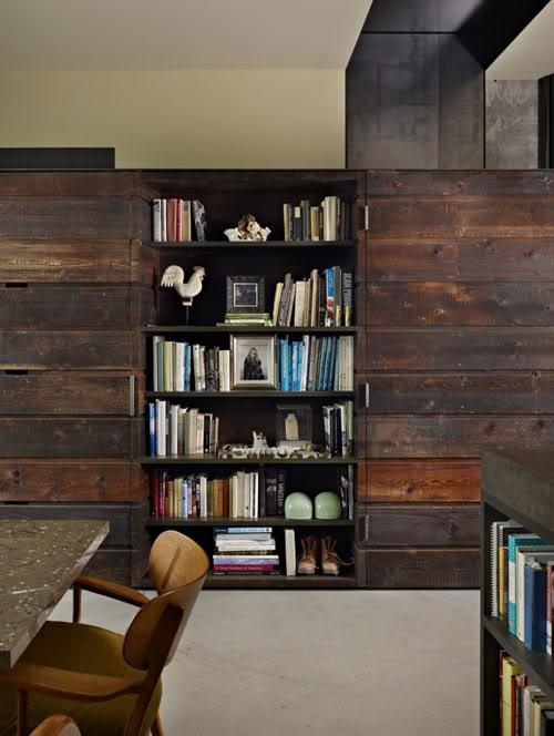 medinė siena, lentyna knygoms