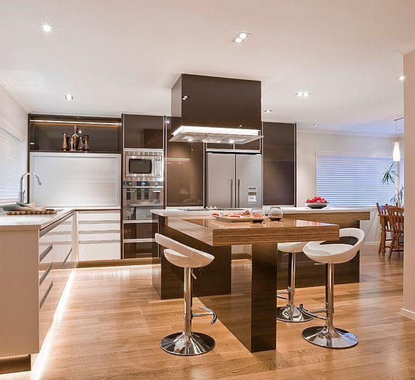 balta virtuvė sala L formos stalas