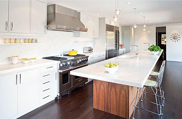balta virtuvė  stalas su kriaukle - sala