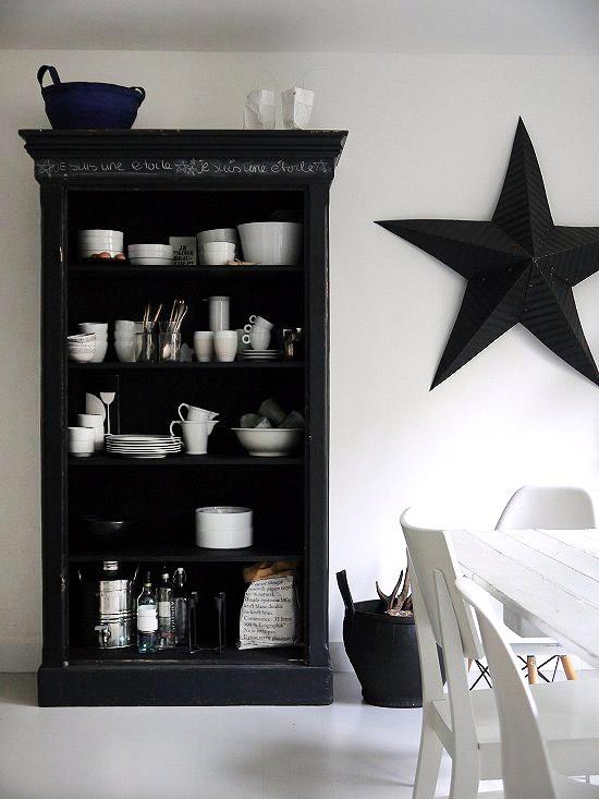 juoda žvaigždė ant baltos sienos