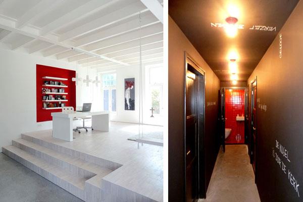 bažnyčios rekonstrukcija, raudona niša, wc siena, juodas koridorius