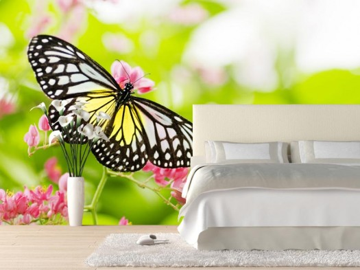 floral-wall-mural-butterfly-on-a-flower-modern-wall-improvement-with-new-concept-wall-murals-from-eazywallz-525x393