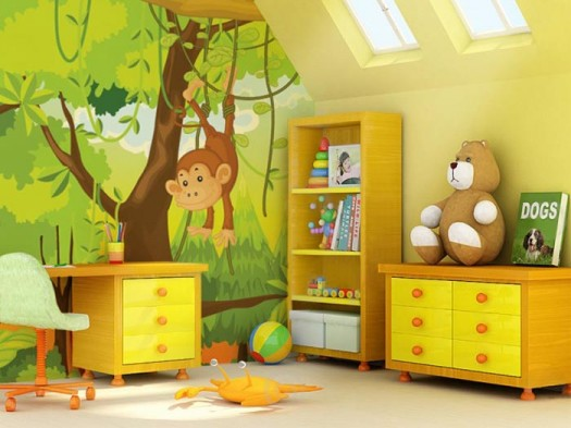 kids-room-wall-mural-cartoon-jungle-smart-wall-improvement-with-new-concept-wall-murals-from-eazywallz-525x393