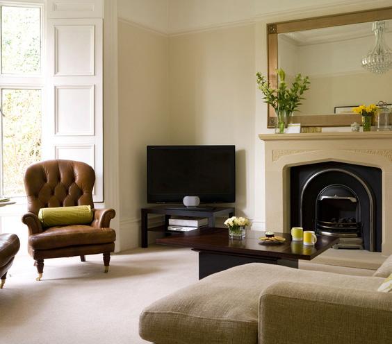 rudas odinis fotelis, židinys svetainėje
