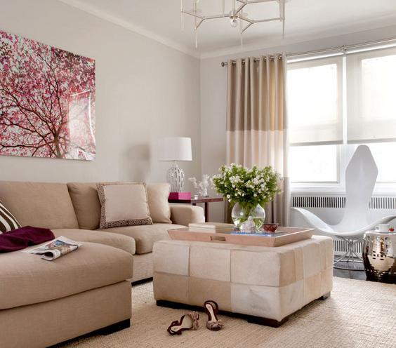 rusvi baldai, rausvi žiedai paveiksle svetainėje