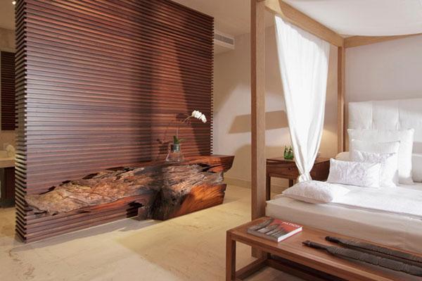miegamasis, medinė pertvara