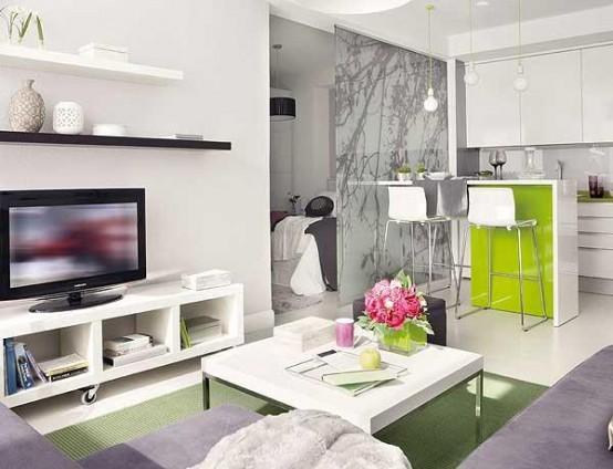 40 m2 butas, vaizdas iš svetainės, virtuvė, miegamasis