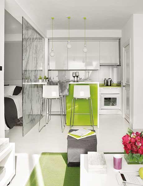 40 m2 buto virtuvė, baras, stiklinė pertvara, skirianti miegamąjį