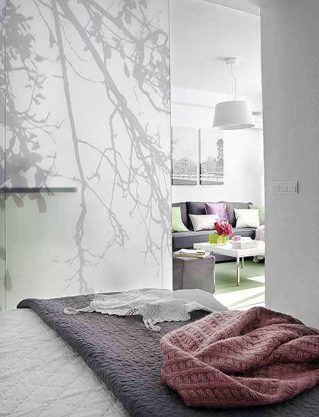 40 m2 buto miegamasis, vaizdas į svetainę