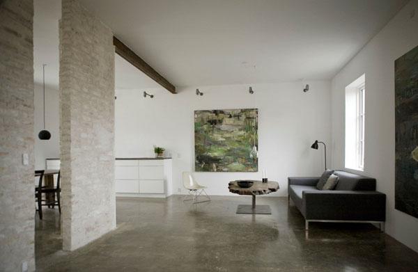 svetainės erdvė, masyvi odinė sofa