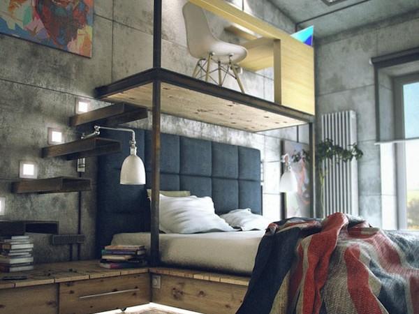 industrinis loftas, lova ant pakylos