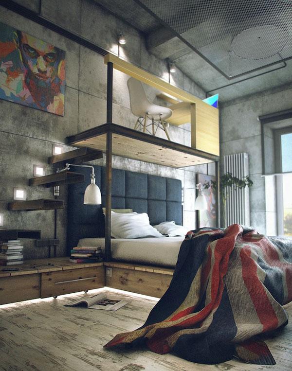 industrinis loftas, lova ant pakylos, namų biuras virš lovos