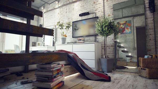 industrinis loftas, lova ant pakylos, baltų plytų siena