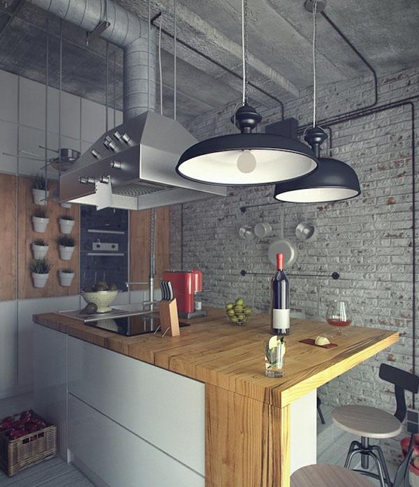 industrinis loftas, virtuvė, dideli šviestuvai