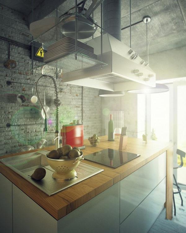 industrinis loftas, virtuvės sala