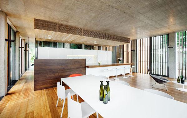 svetainė, medinės grindys, betono lubos