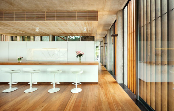 svetainė, medinė apdaila, medinės grindys, virtuvė, baras