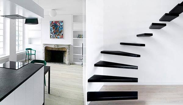 butas, virtuvė, židinys, minimalios, juodos laiptų pakopos