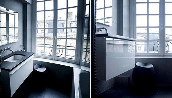 kriauklė vonioje, vaizdas pro langą