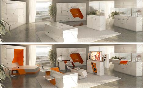 modulinio interjero baldų kolekcija