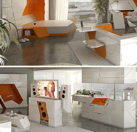 balti, oranžiniai moduliniai baldai