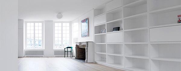 baltas butas Paryžiuje, atviros lentynos