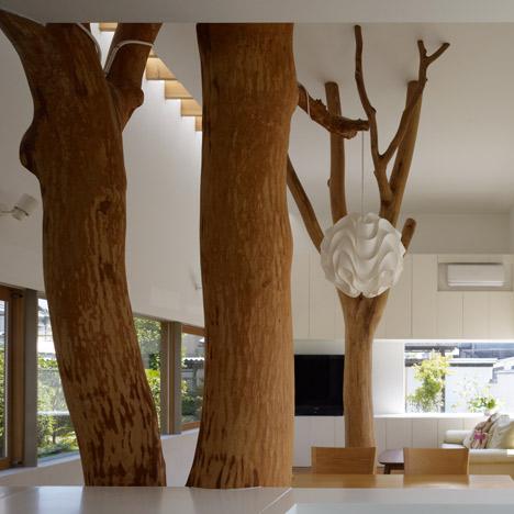 namo priestatas, medžių kamienai bendroje erdvėje