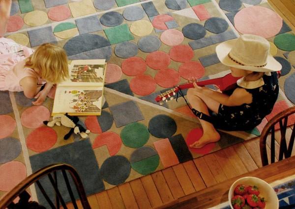 Raštuoti kilimai, apvalios geometrinės formos