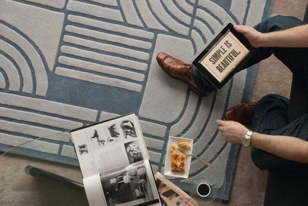 Raštuoti kilimai, lenktos, stačiakampės geometrinės formos