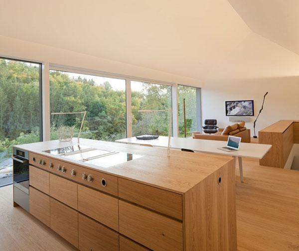 svetainės bendra erdvė, virtuvė, namu biuras, angai per visa siena