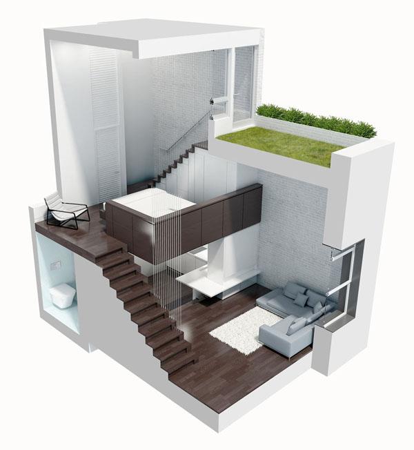 nedidelis butas per kelis aukštus, 3d vaizdas